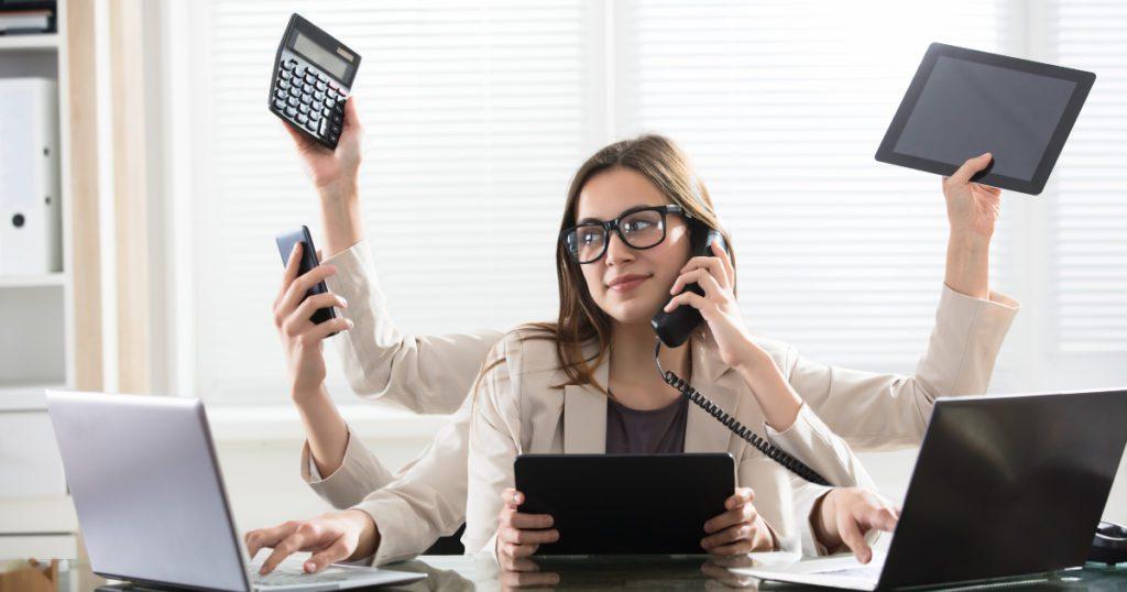 Image: Person multi-tasking